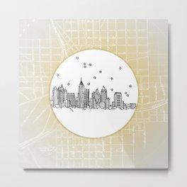 Atlanta, Georgia City Skyline Illustration Drawing Metal Print