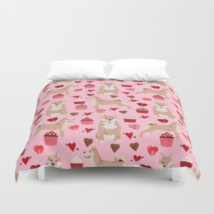 Shiba Inu dog breed love cupcakes hearts valentines day pet gifts Shiba inus Duvet Cover