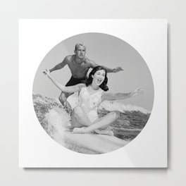 Tandem Couple Surfing Metal Print
