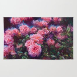 Out of Dust, impressionist pink roses Rug