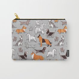 Origami doggie friends // grey linen texture background Carry-All Pouch