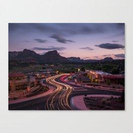 desert night light trails Canvas Print