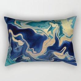 DRAMAQUEEN - GOLD INDIGO MARBLE Rectangular Pillow