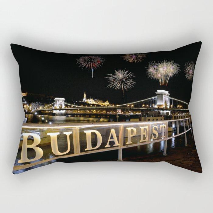Chain bridge  with fireworks on Budapest city. Rectangular Pillow