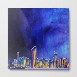 Brisbane City Skyline Print Metal Print