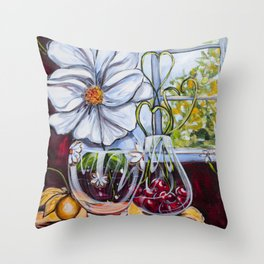 Diane L-  Fleurs en coeurs Throw Pillow