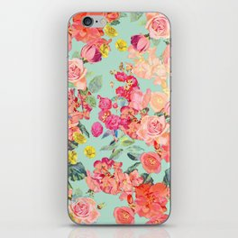 Antique Floral Print in Coral and Mint Tones iPhone Skin