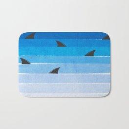 Sharks - shark week trendy black and white minimal kids pattern print ombre blue ocean surfing  Bath Mat
