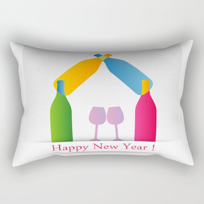 New year greetings with House formed with many colorful bottles and glasses Rectangular Pillow