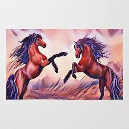 Wild Stallions Playing Rug