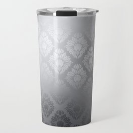 """Neutral gray Damask Pattern"" Travel Mug"