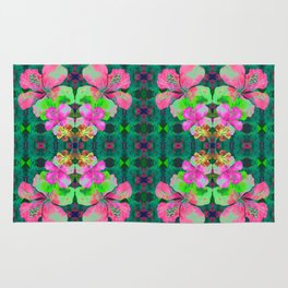 Retro Magic Hawaiian Floral Print Rug