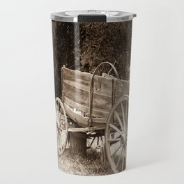Old Wild West wagon abandoned in a meadow Travel Mug