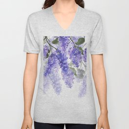 Purple Wisteria Flowers Unisex V-Neck