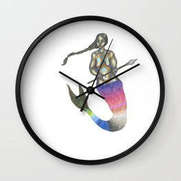 mermaid with a braid holding a spear Wall Clock