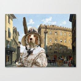 Beagle - Piazza Santa Trinita Firenze Canvas Print