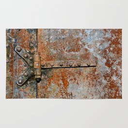 Rusty metal door details Rug