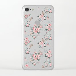 French Flowers and Bunnies Clear iPhone Case