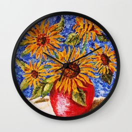 Sunflowers in Red Vase Wall Clock