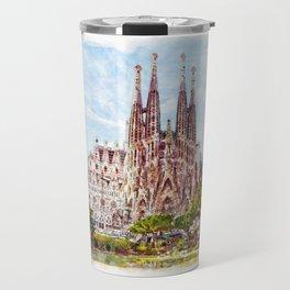 La Sagrada Familia watercolor Travel Mug