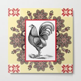 Chicken 'N Mandala Metal Print
