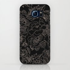 Pink coral tan black floral illustration pattern Slim Case Galaxy S8