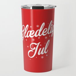Glaedelig Jul Red Background Travel Mug