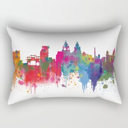 Liverpool seafront city line skyline waterfront watercolour colours colour splash by Evangelos Rectangular Pillow