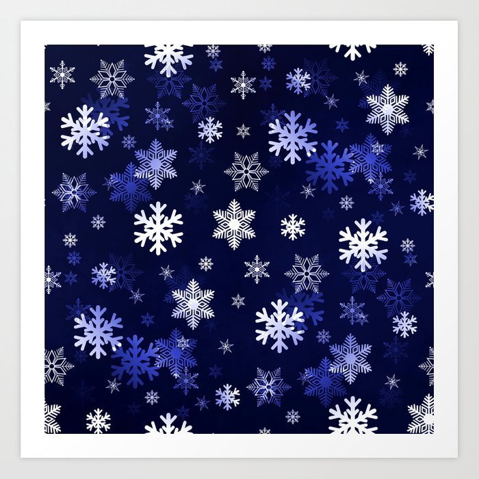 Dark Blue Snowflakes Art Print