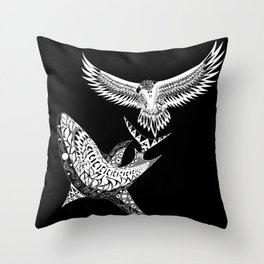 The shark and the eagle back in black Throw Pillow