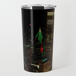 A Christmas Skyline in Chicago (Chicago Christmas/Holiday Collection) Travel Mug