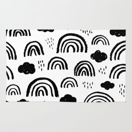Black and white rainbow clouds Rug