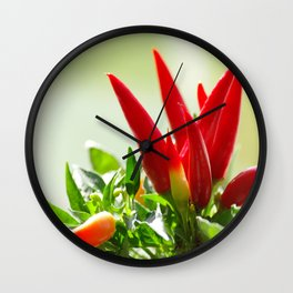 Chili peppers on the vine Wall Clock