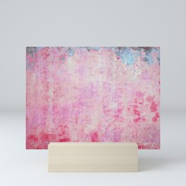 abstract vintage wall texture - pink retro style background Mini Art Print