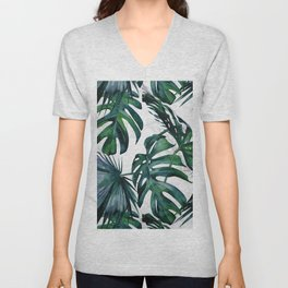 Tropical Palm Leaves Classic on Marble Unisex V-Neck
