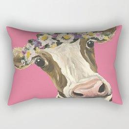 Cute Cow Art, Colorful Flower Crown Cow Art Rectangular Pillow