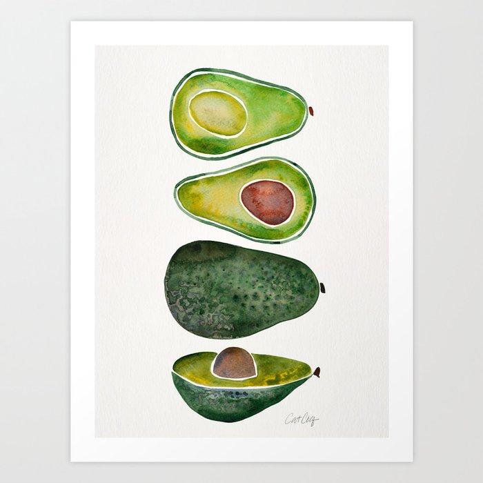 Avocado Slices Art Print