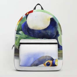 Toucan watercolor illustration, aquarelle art bird Backpack