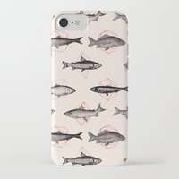 fish iPhone & iPod Cases featuring Fishes In Geometrics (Red) by Florent Bodart / Speakerine