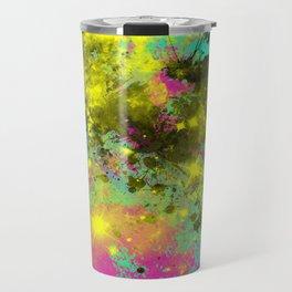 Stargazer - Abstract cyan, black, purple and yellow oil painting Travel Mug