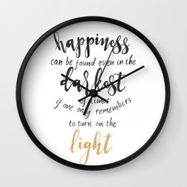 Dumbledore Quote | Happiness can be found... | Watercolor Wall Clock