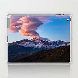 Fire on the Mountain - Sunrise Illuminates Cloud Over Longs Peak in Colorado Laptop & iPad Skin