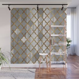 Moroccan Tile Pattern In Grey And Gold Wall Mural