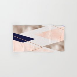 Rose gold french navy geometric Hand & Bath Towel