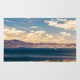 Sunny day view from Krk island to the gulf of Rijeka Rug