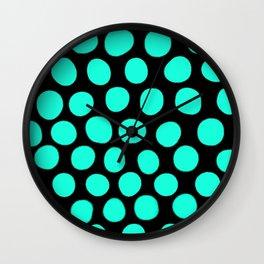 Light Aqua Blue Dots - Black Wall Clock