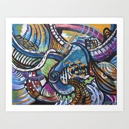 FREESTYLE: Orangy Blue Art Print