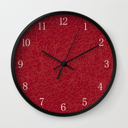 Dark red rough leather texture abstract Wall Clock