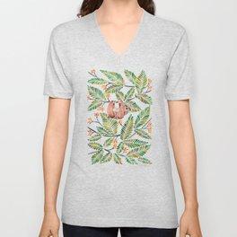 Happy Sloth – Tropical Green Rainforest Unisex V-Neck