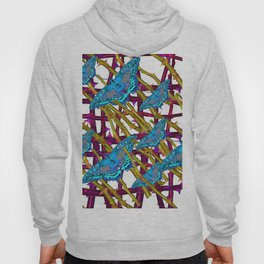 BLUE MOTHS ON ABSTRACT PURPLE THORN BRANCHES Hoody